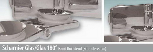 Scharnier Glas/Glas 180° Band fluchtend
