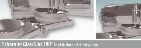 Scharnier Glas/Glas 180° Band fluchtend