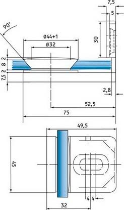 Winkel Glas/Wand 90° innen