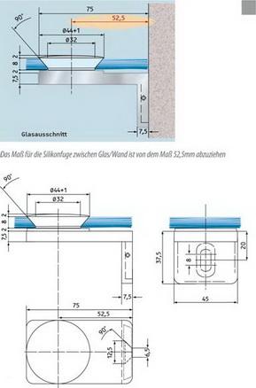 Winkel Glas/Wand 90° aussen