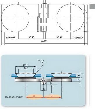Hebe-Senk Scharnier Glas/Glas 180° rechts