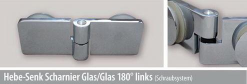 Hebe-Senk Scharnier Glas/Glas 180° links