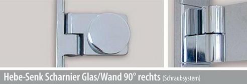Hebe-Senk Scharnier Glas/Wand 90° rechts