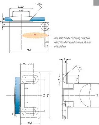 Hebe-Senk Scharnier Glas/Wand 90° links