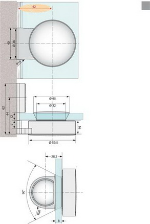 VarioPlus Winkel Glas/Wand 90° innen