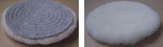 NewPro-Klett-Lammfell-Polierscheibe grau Velour mit Spiral-Form