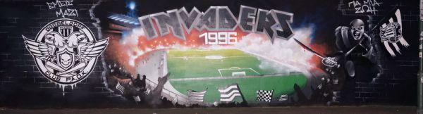 Mit  NewPro Graffiti Magic geschützte Seite eines Fussballclubs in Düsseldorf