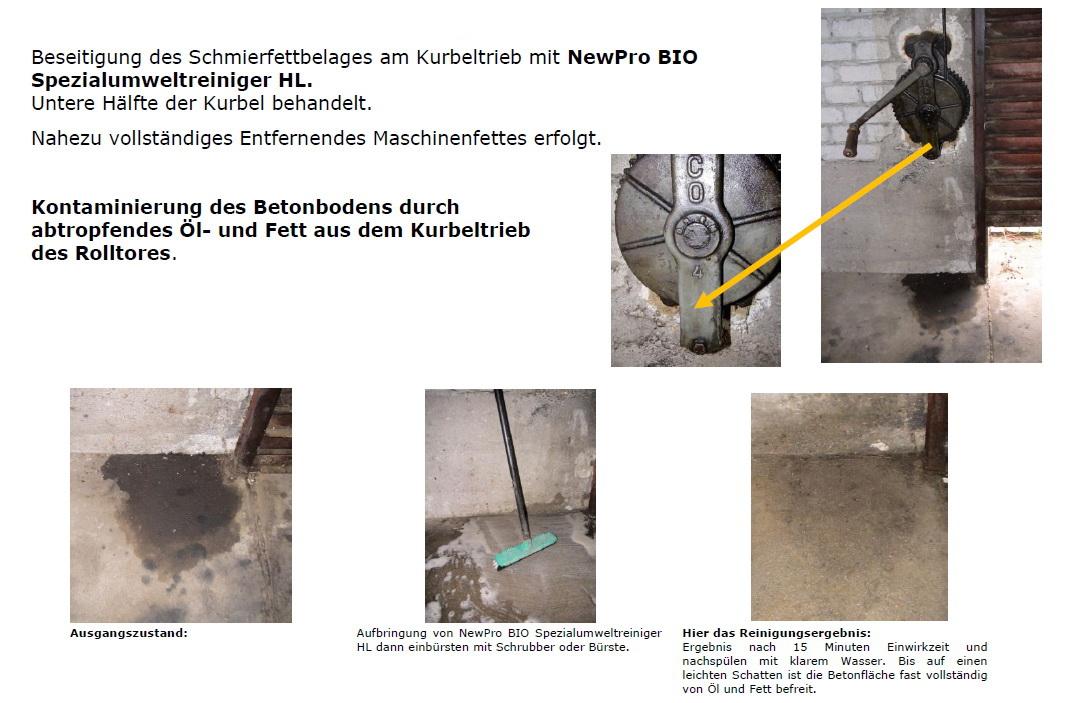 Altes Maschinenfett und Kontaminierung Betonboden
